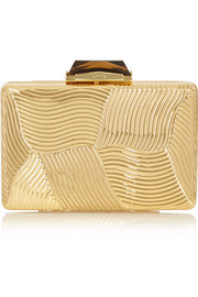Deco embossed gold-tone clutch