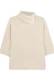 Zip-detailed cashmere-blend turtleneck sweater
