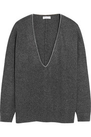 Oversized chain-trimmed cashmere sweater