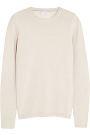 Suede-trimmed cashmere sweater
