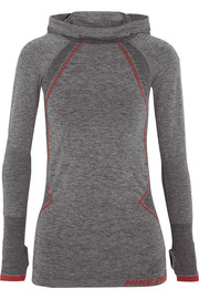Pro Hyperwarm Limitless mélange stretch-jersey hooded top