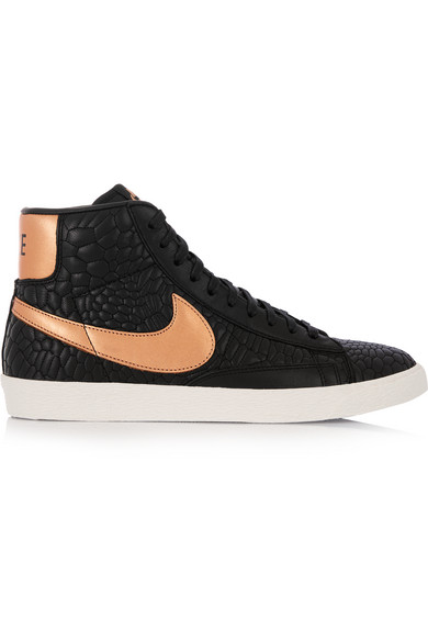 Nike. Blazer croc-effect leather high-top sneakers