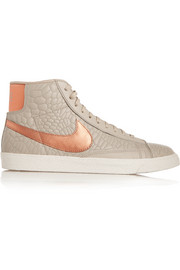 Blazer croc-effect leather high-top sneakers