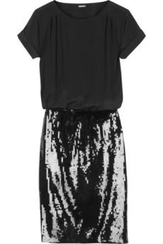 DKNYSilk and jersey sequined dress