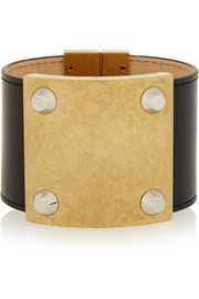 Gold-tone and leather bracelet