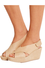 Federica textured-leather and suede wedge sandals