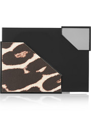 Broken Space metal and leopard-print leather box clutch