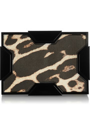 Space leopard-print leather box clutch