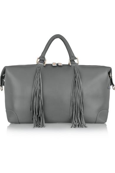 eddie harrop female 123868 eddie harrop the voyager fringed texturedleather weekend bag gray