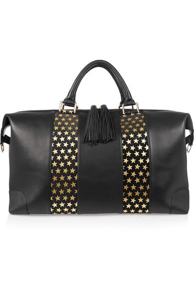eddie harrop female 188971 eddie harrop the voyager texturedleather and suede weekend bag black