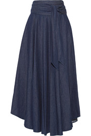 Belted denim maxi skirt