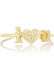 I Heart U 18-karat gold diamond ring