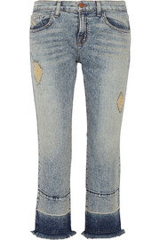 Adele cropped distressed mid-rise flared jeans