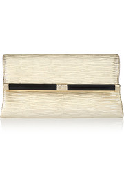 Diane von Furstenberg 440 Envelope metallic textured-leather clutch