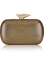 Flirty lamé and leather clutch