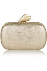 Love metallic embossed leather clutch