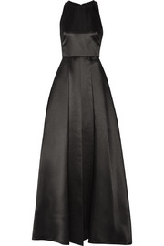 Clarebelle layered duchesse-satin gown