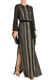 Alice + Olivia Kye lace-paneled georgette maxi dress