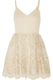 Julianne Ballerina crepe de chine and embroidered tulle dress