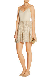Alice + Olivia Julianne Ballerina crepe de chine and embroidered tulle dress