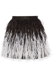 Alice + Olivia Lauryn feather-embellished tulle mini skirt