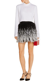 Lauryn feather-embellished tulle mini skirt
