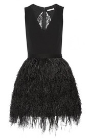 Alice + Olivia Kiara crepe and feather-embellished organza mini dress