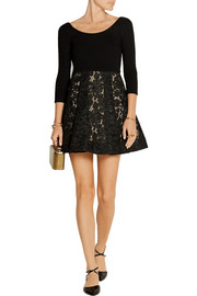 Amie stretch-crepe and guipure lace mini dress