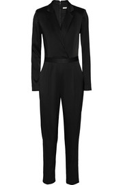 Violetta wrap-effect stretch-satin jumpsuit