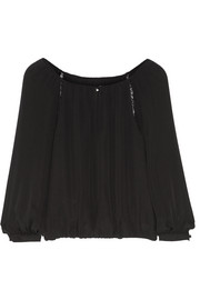 Daroda lace-trimmed silk top