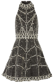 Alice + Olivia Hollie embellished silk mini dress