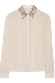 Saira embellished stretch-silk georgette shirt