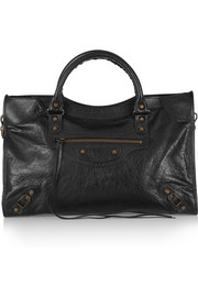 City Classic textured-leather tote