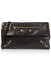 Envelope textured-leather shoulder bag