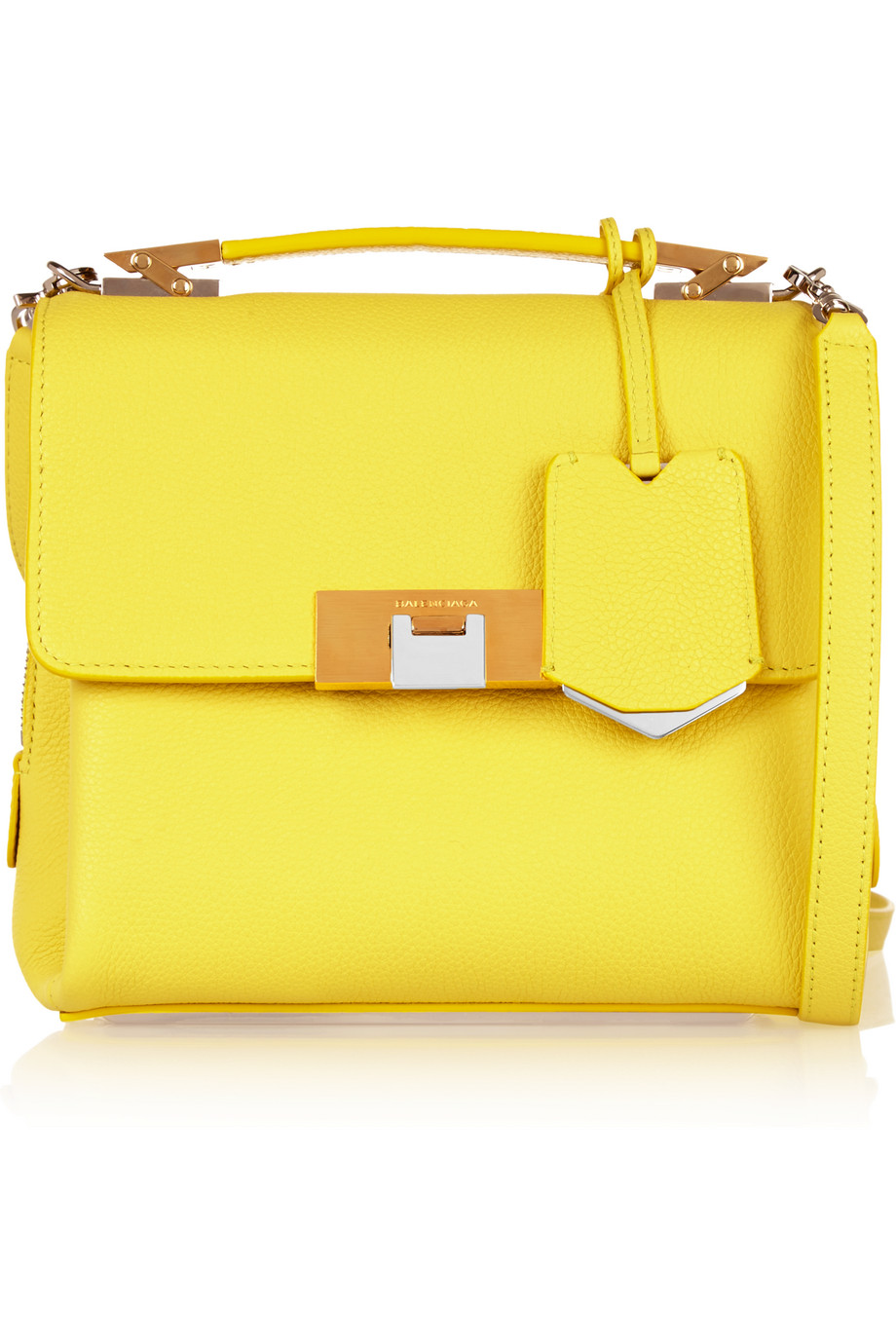 Balenciaga Le Dix Mini Textured-Leather Shoulder Bag, Chartreuse, Women's