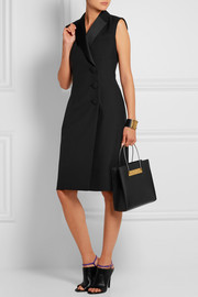 Satin-trimmed crepe dress