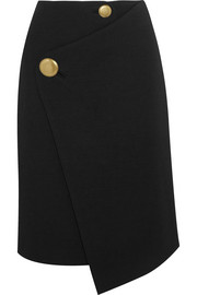 Asymmetric wool wrap skirt