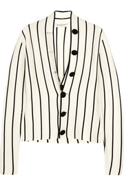 Striped silk-jersey cardigan