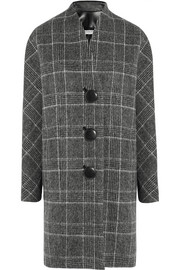 Checked brushed wool-blend coat