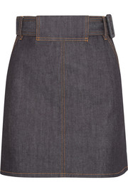 Belted stretch-denim mini skirt