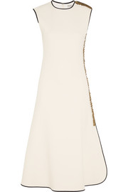 Embellished stretch-crepe midi dress