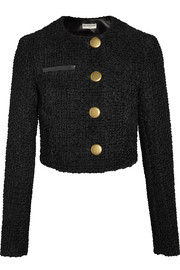 Cropped leather-trimmed tweed jacket