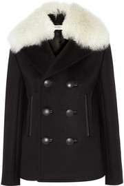 Shearling-trimmed wool-blend felt peacoat