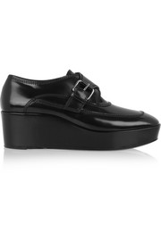 Leather monk-strap platform loafers
