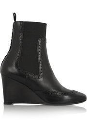 Leather wedge Chelsea boots