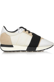 Race Runner mesh, leather and shell sneakers