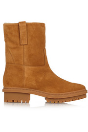 Biker shearling-lined suede boots