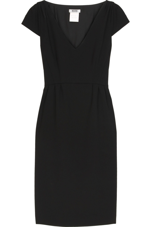 Noir V Neck Crepe Pencil Dress Boutique Moschino Net A Porter