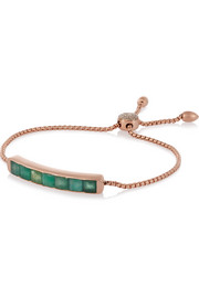 Monica Vinader Baja rose gold-plated, emerald and diamond bracelet