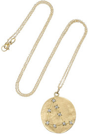 Capricorn 14-karat gold diamond necklace